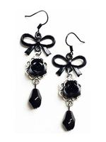 Gothic Victorian Earrings - Black Roses and Bows