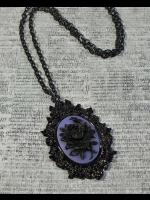 Gothic Victorian Cameo Necklace - Black Rose on Purple