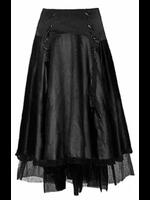 Long Black Gothic Skirt with Suspender Straps